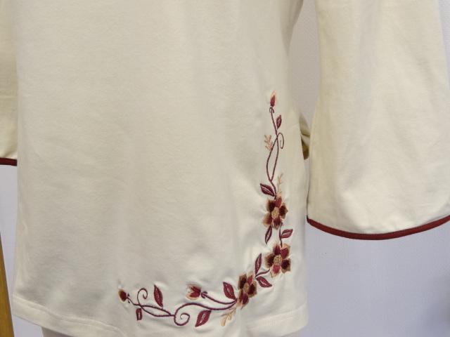 チャイナTシャツ(刺繍入り)ベージュ